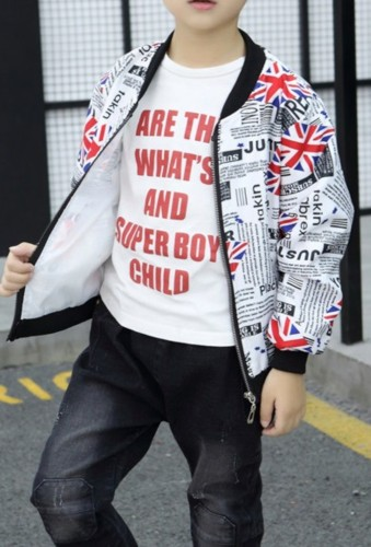 Chaqueta con cremallera con estampado otoñal unisex para niños