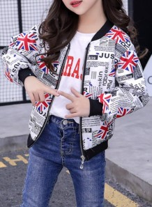 Kids Unisex Autumn Print Zipper Jacket