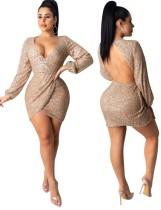 Open Back Pailletten V-Ausschnitt Wickelkleid mit Ärmeln