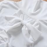 Feines High Neck Knitting Basic Top mit Schleifen