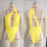 Hoher Badeanzug mit One-Shoulder-Ausschnitt
