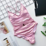 Einfarbig Halfter einteilige Badebekleidung mit Gürtel