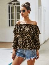 Sexy schulterfreies Leoparden-Top mit Ärmeln