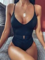 Plain Color Halter One-Piece Swimwear with Belt