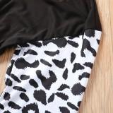 Shirt mit V-Ausschnitt und Leopardenmuster und Ärmeln