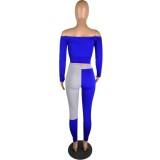 Kontrastdruck Schulterfreies, enges Oberteil und Hosenset