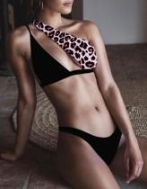 Leopard zweiteilige One Shoulder Bademode