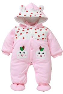 Baby Girl Winter Button Up Print Hoody Rompers