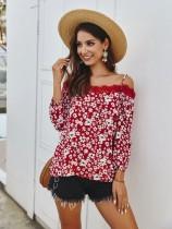 Camisa con correas de flores románticas de verano con mangas