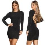 Schwarzes sexy Minikleid mit Schnürung hinten