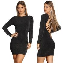Mini abito sexy nero con lacci dietro