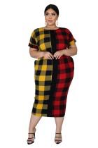 Grote maten kleurrijke geruite jurk met korte mouwen