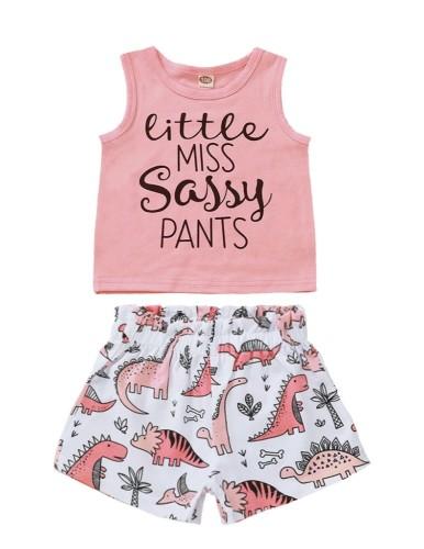 Conjunto de pantalones cortos de verano para niña 2, estampado para niñas