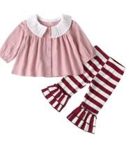 Camisa con volantes de otoño para niña y pantalones florales de campana para niña