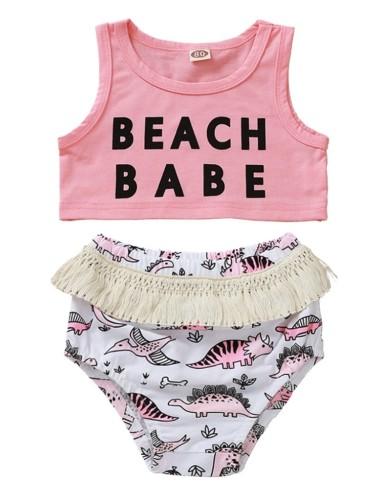 Conjunto de bikini de niña 2 con estampado de niña