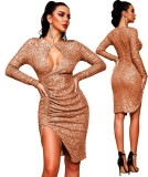 Sequins Long Sleeves Slit Keyhole Party Dress