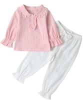 Conjunto de camisa y pantalón con volantes otoñales para niña