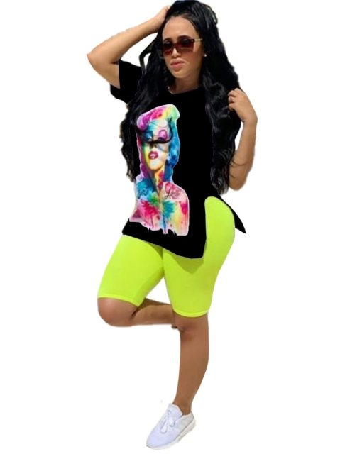 Print Black Slit Shirt and Neon Green Shorts