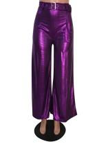 Pantalones metálicos de fiesta de cintura alta con cinturón