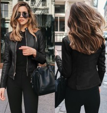 Short Zipper Leather Jacket with Sleeves