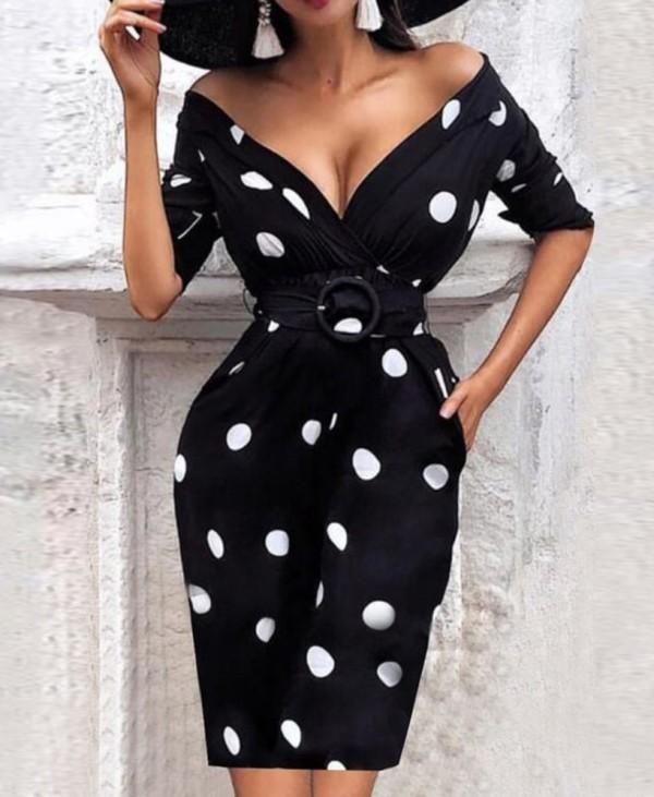 Weißes und schwarzes Vintage Wickelkleid mit Gürtel