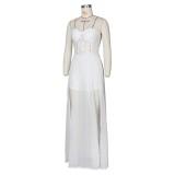Weiß sexy trägerlosen Schlitz Abendkleid