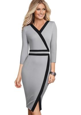 Официальное платье миди с серым и черным вырезом и V-образным вырезом
