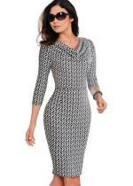Vestido Midi elegante com decote em V e mangas estampadas
