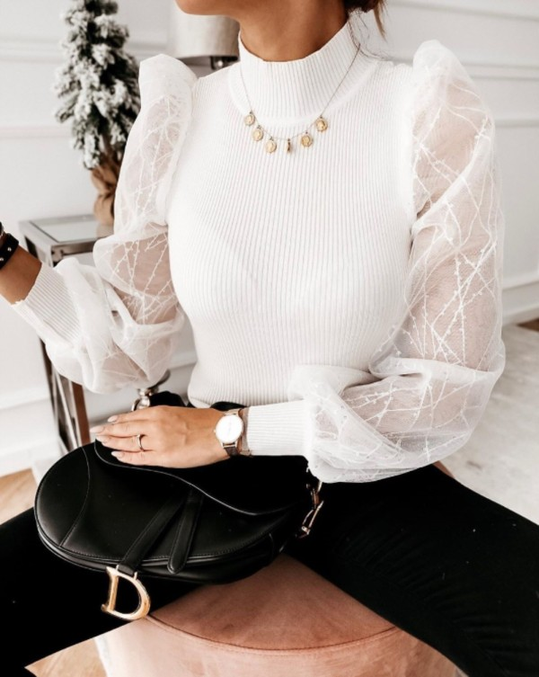 High Neck Knitting Basic Top with Sequins Mesh Sleeves