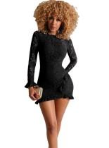 Schwarzes Spitzen Mini Partykleid mit Ärmeln