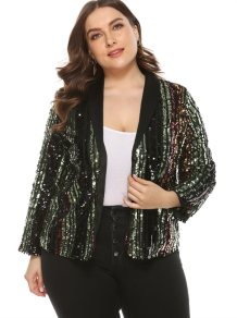 Plus Size Sequins Color Party Coat