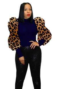 Sexy Tight Knitting Top with Leopard Pop Sleeves