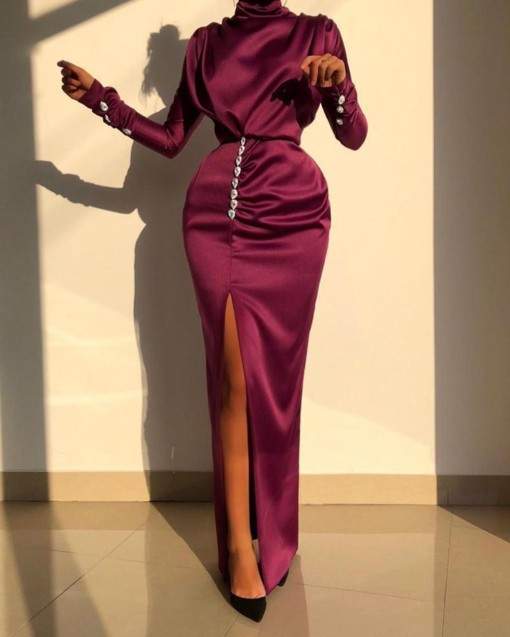 Luxury Long Sleeve Slit Long Evening Gown