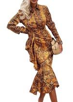 Vestido de fiesta de sirena de manga larga con estampado de leopardo