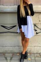 White and Black Contrast Irregular Shirt Dress with Sleeves