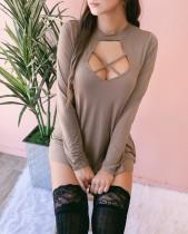 Chemise sexy à manches longues et découpes