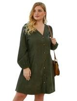 Plus Size Langarm A-Linie Kurzes Kleid