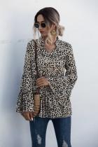 Blusa larga estampada leopardo con mangas anchas