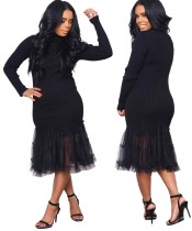 Black Knitting Fishtail Long Dress with Sleeves