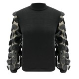 Black High Neck Basic Top with Mesh Sleeves