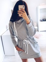 Lässige Drawstrings Sweat Dress mit Ärmeln