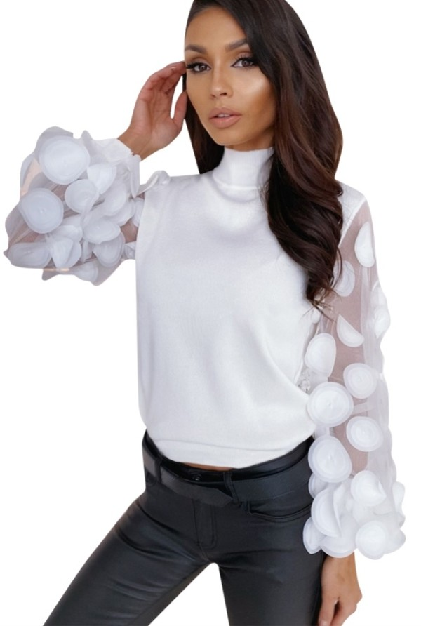 White High Neck Basic Top with Mesh Sleeves
