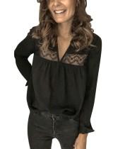 Black Patchwork V-Neck Long Sleeve Blouse
