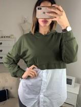 Chemise à capuche color block Partchwork