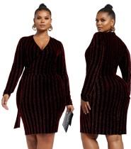 Plus Size Sequins Stripes Wickelkleid mit Ärmeln