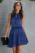 Sommer ärmelloses Rüschen einfaches Kleid