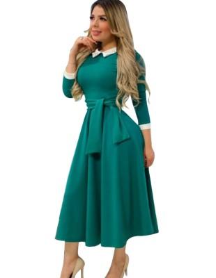 Официальное длинное рабочее платье Lady с поясом