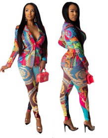 Print Colorful African Long Sleeve Blouse and Pants Set