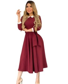 Offical Lady Long Work Dress with Belt