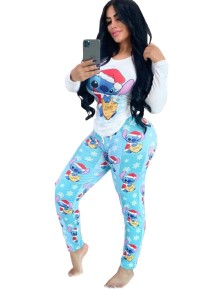Print Cartoon Tight Long Sleeve Pajama Set